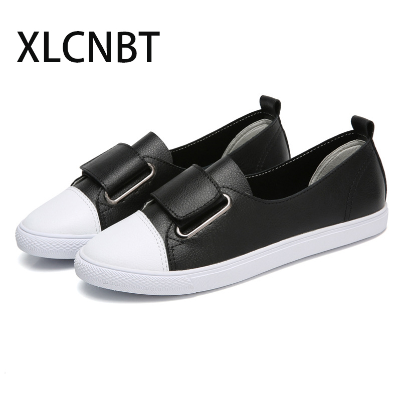 White Shoes Low-Heel Fashion Genuine-Leather Women's Single Casual Autumn Loop Spring