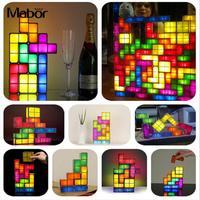 DIY Tetris Puzzle Light Stackable LED Desk Lamp Night Light Night Lamp DIY Atmosphere Lamp Decorate LED Light Tetris Block