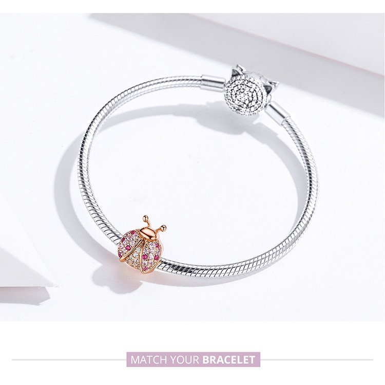 HTB1WOknaYj1gK0jSZFuq6ArHpXaq BAMOER New Arrival 925 Sterling Silver Ladybug Pink Cubic Zircon Insect Charms Beads fit for Bracelets DIY Jewelry SCC1120