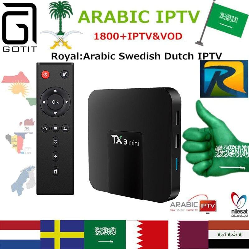 Arabic Royal IPTV TX3MINI 4K TV Box with 1850+Europe Swedish Dutch