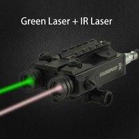 Тактический военный Стандартный двухлучевой 5 МВт зеленый лазер и инфракрасный красная лазерная Combo Millitary противоударный ИК лазера с хвосто