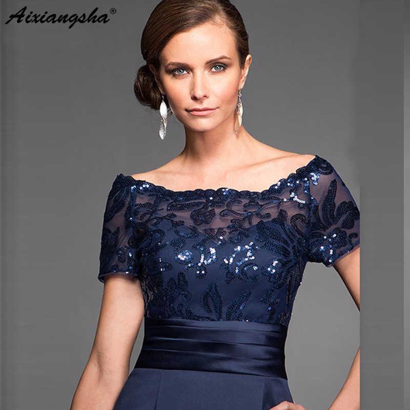 Elegante azul marino vestidos para la madre de la novia de vaina de manga corta de la longitud de la rodilla de la boda Vestido de hecho
