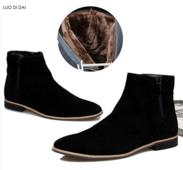Booties Wildleder Zip Casual brown Ferse Schwarzes High Männlichen Männer Mens Up Flache Neue Top Schuhe Stiefel Party 2019 Mode Arbeits IY7q7w