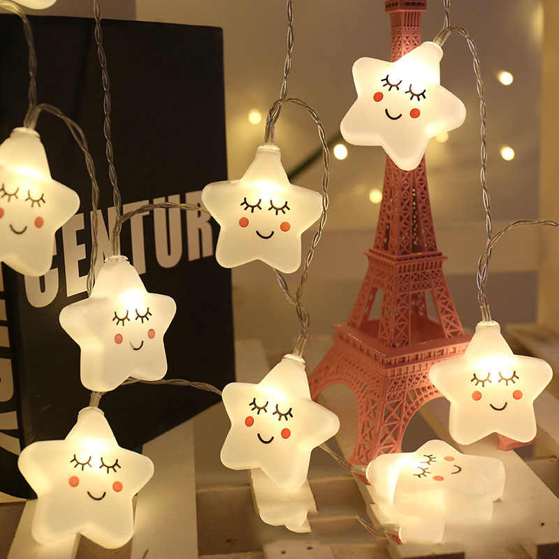 Events and Parties 5M 50Leds Smile Face LED String Light Battery Wedding Birthday Decor Lights Cute Star LED Guirlande Lumineuse
