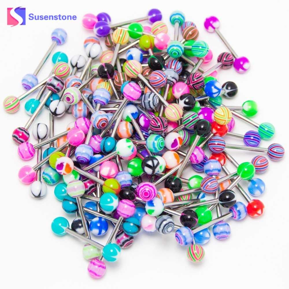 susenstone Bulk Wholesale 30 pcs Women Colorful Stainless Steel Ball Barbell Tongue Piercing Tongue Ring Body Jewelry Gifts