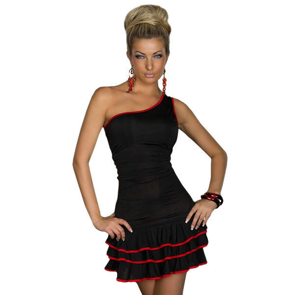 25541b3f21 Black New Sexy Hot One-shoulder Mini Dress Short Dress Patterns One Piece  Dress