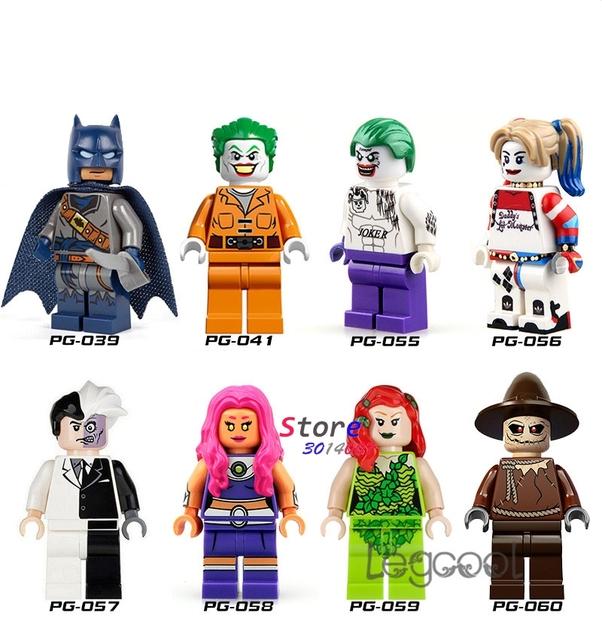 1PCS model building blocks superhero Batman Clown Joker Harley Quinn Face Starfire Poison IVY Scarecrow toys for children gift