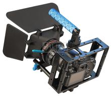 DSLR Rig 15mm Rail Rod Support System Video Lens Hood Matte Box + Camera Cage Case + Follow Focus Gear Belt