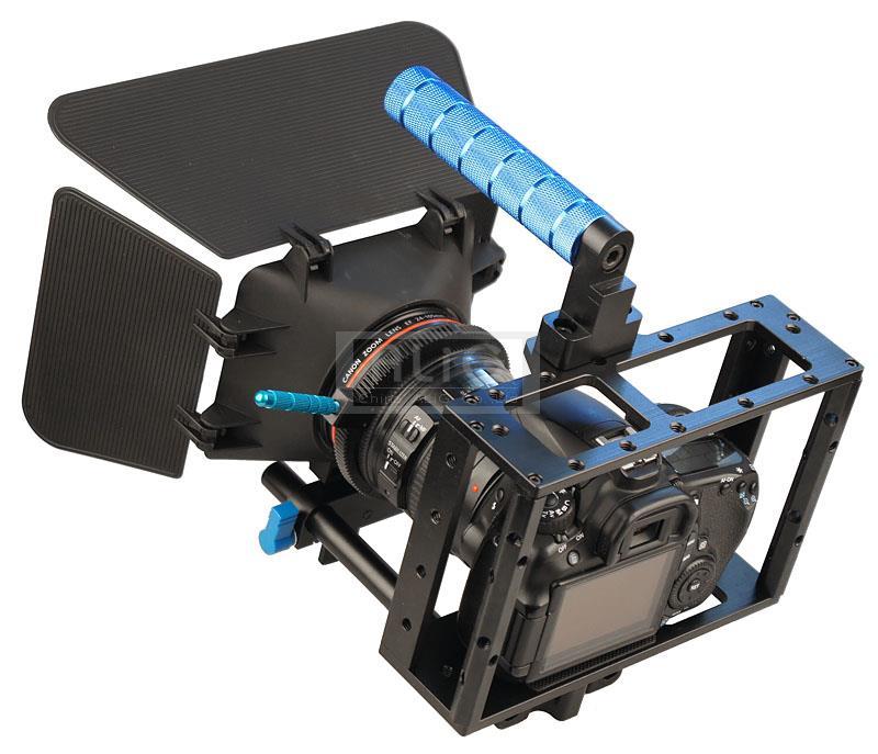 Prix pour DSLR Rig 15mm Rod de Rail Support System Vidéo Lens Hood Matte Box + Caméra Cage Cas + Follow Focus Vitesse ceinture