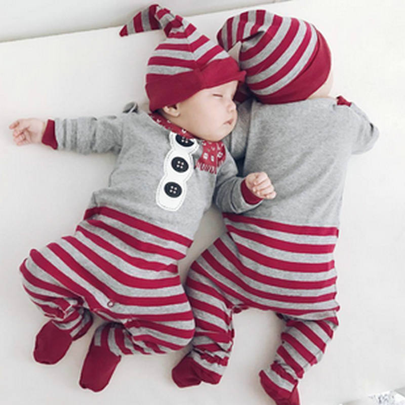 Christmas Baby Rompers Striped Cotton Jumpsuits Newborn Clothes Infant Pajamas Toddler Hat Christmas Romper Party Gift Outfits