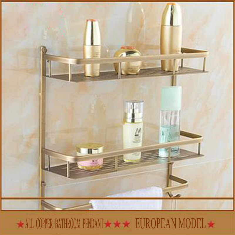 free shipping copper material  high-end single, towel reck,  hook, bathroom basket, all copper antique bathroom shelf suite bathroom pendant all copper antique basket antique shelf the quartet basket thickened wide type 30cm