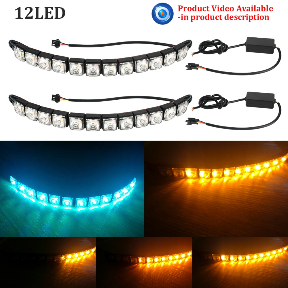2pcs Car <font><b>LED</b></font> Daytime Running Light Tear Strip Auto Headlight <font><b>Turn</b></font> <font><b>Signal</b></font> Parking Lamp for Peugeot 206 <font><b>Passat</b></font> <font><b>b6</b></font> P21w Universal image