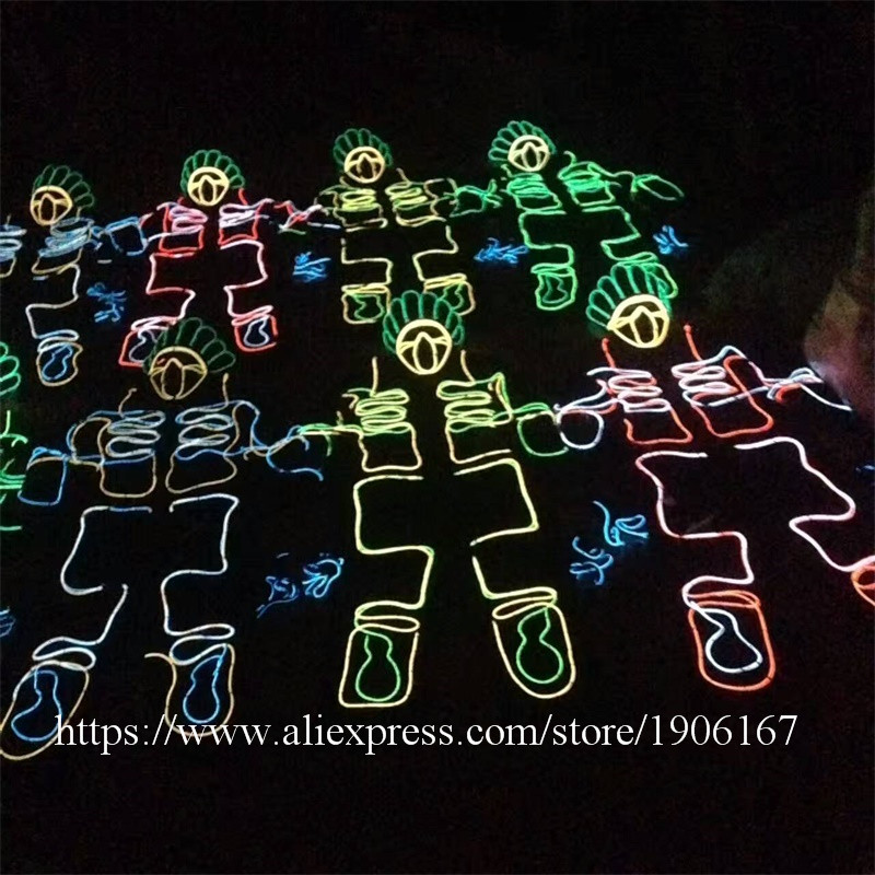 Led Luminous EL Wire Robot Suit Set For DJ DS Illuminated Ballroom Costume Dance Clothing For Stage Nightclub 03