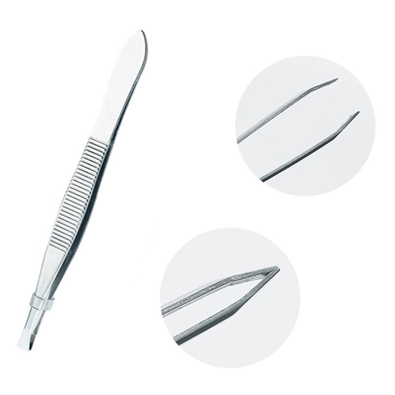 ZtDpLsd 1Pcs Precision Slant Eyebrow Tweezers Non-slip Makeup Remover Tweezer Tools Stainless Steel Face Hair Women Removal Clip