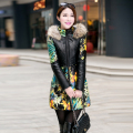 2016 new Winter jacket women PU wadded jacket coat outerwear print fur collar medium-long plus size down cotton-padded jacket