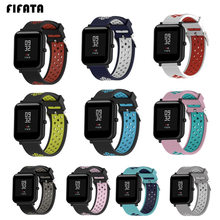 FIFATA Dual Colorful Silicone Wrist Strap For Xiaomi Huami Amazfit Bip BIT PACE Lite Youth Smart Watch Replacement Bracelet 20mm(China)
