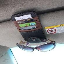 Мода автомобилей солнцезащитные очки случай имя карты кредитные карты visa держатель клип многофункциональный автомобиль покрытие на козырек 5 цвета 2017