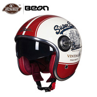 BEON Motorbike Casco Motorcycle Helmet Vintage Moto Helmet 3/4 Open Face Capacete Biker Retro Scooter Helmet Double Visor