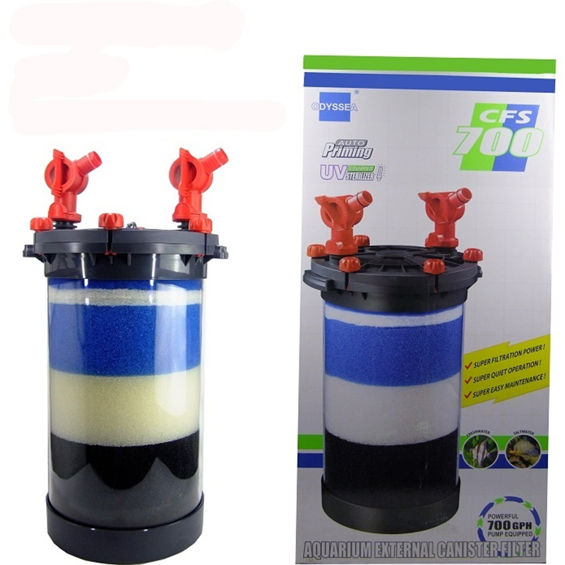 Odyssea cfs700 aquarium external canister filter 700gph for Outdoor fish tank filter