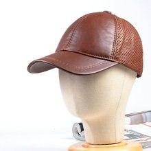 Women's Men's Genuine Leather punching leather unisex baseball cap Beret Newsboy Navy/Army Caps/Hats  Adjustable