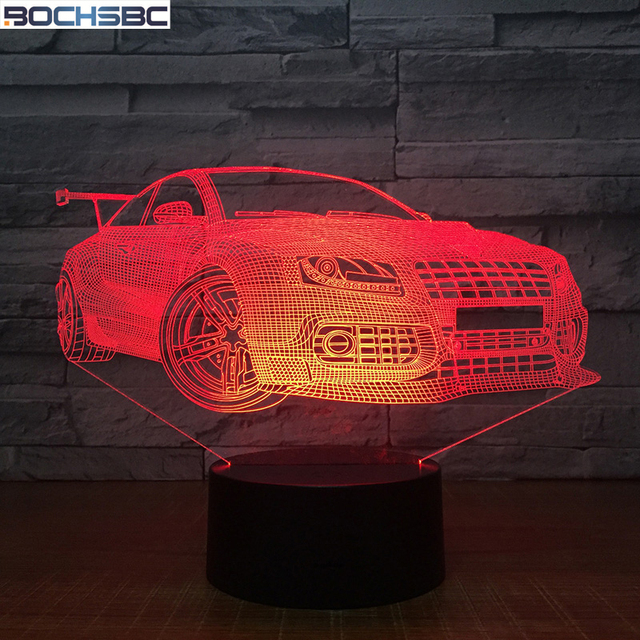 Bochsbc 7 Colorful Changing Table Lamp 3d Racing Car Usb Led Acrylic