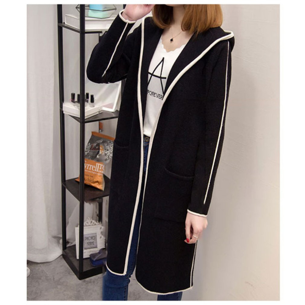 Fashion Woman Spring Winter Coat women 2018 Long   Trench   Plus Size Knitted Open Stitch Girls   Trench   Windbreaker Cardigan Mjuer