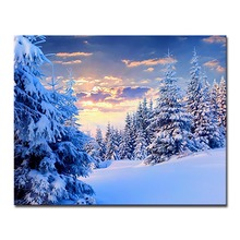 DIY Oil Canvas Paint Painting By Numbers Snow Forest Drawing Colors On Hand Framework Wall Paints Modern Landscape Picture