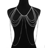 Nova Elegante Sexy da Senhora Cintura Biquíni Corrente de Ouro Multilayer Tassel Charme Ombro Corpo Cadeia Colar de Jóias Mulheres