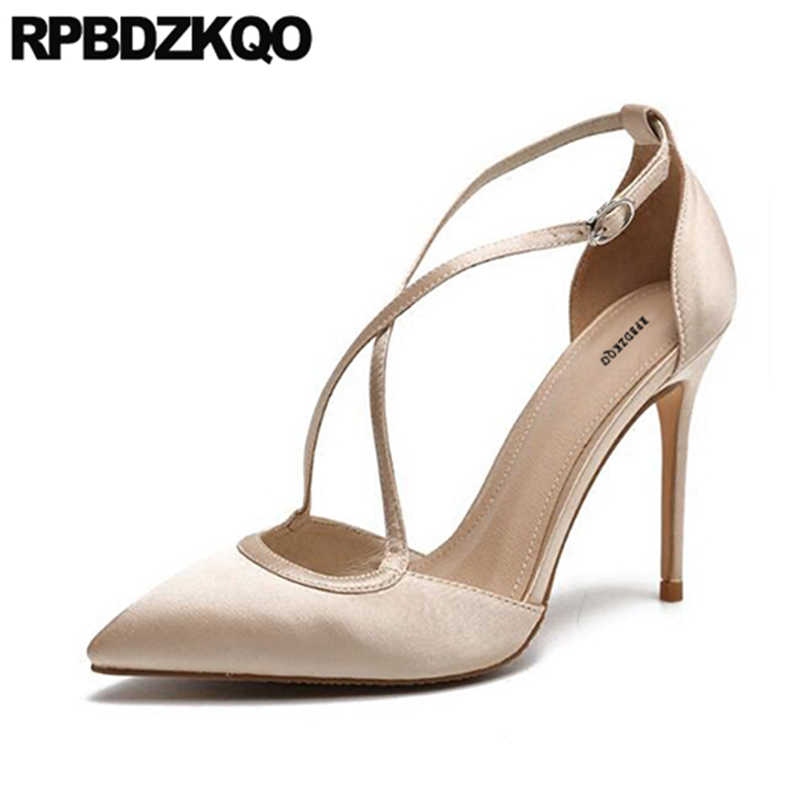 6cb0b7cd73 Pointed Toe Red Satin Runway Super Sandals Ultra Summer Ladies Korean High  Heels Shoes Extreme Stiletto