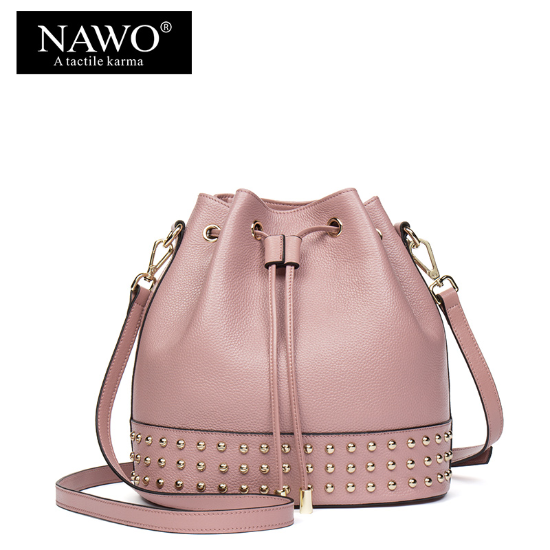 NAWO Designer Drawstring Women Bags Bucket Fashion Shoulder Bags Ladies Crossbody Bags Cow Genuine Leather Rivet Women Handbags 2018 new fashion top handle bags women cowhide genuine leather handbags casual bucket bags women bags rivet shoulder bags 836