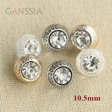20 шт./лот Размер: 10,5 мм модные стразы с хвостовиком для рубашки, золотой цвет/черная прозрачная кнопка(ss-705