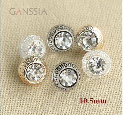 30pcs/lot Size:10.5mm Fashion rhinestone shank button for shirt,gold color /black transparent button (ss-705)