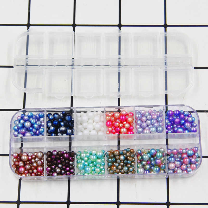 12 fori/FAI DA TE Scatola di UV Particelle di Perle Accessori Slime Palle Piccolo Piccolo Perle di Schiuma Per Floam di Riempimento Per Slime FAI DA TE Forniture di 3-5mm