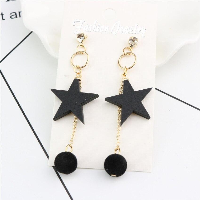 Five pointed star round women srop earring tassel beautiful simple ...