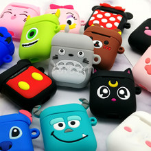 Cute Cartoon Wireless Earphone Case For Apple AirPods 2 Silicone Charging Headphones Case for Airpods Protective Cover(China)