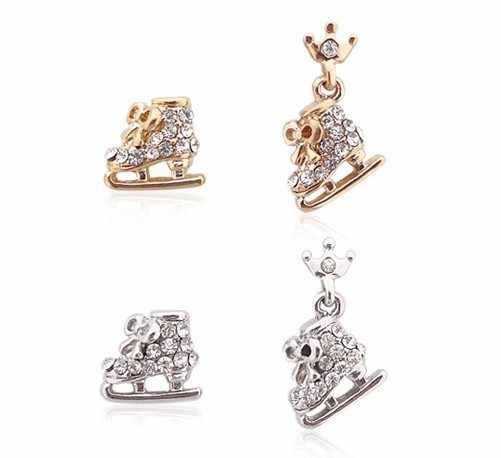 fashion jewelry accessories cute ice blade skates bow knot crystal small studs earrings