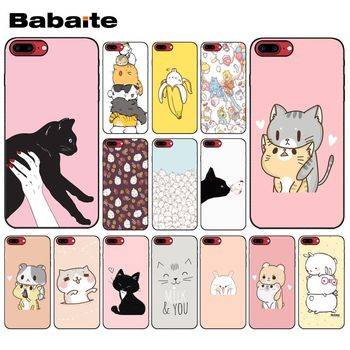 Yinuoda Kawaii Molang Anime dog Cartoon cat Black Phone Cover for Apple iPhone 8 7 6 6S Plus X XS MAX 5 5S SE XR Cellphones image