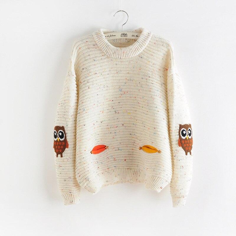 2017 Damenmode Winter Herbst Oansatz Kragen Neue Owl Charakter Mit Tasche Hit Farbe Solide Lose Cashmere-pullover Pullover Freigabepreis