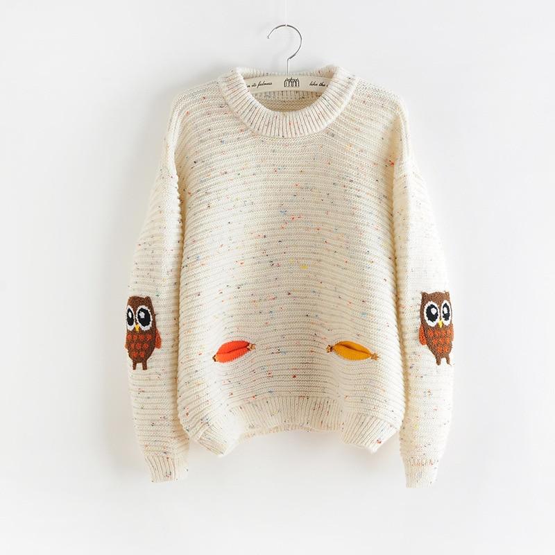 2017 Damenmode Winter Herbst Oansatz Kragen Neue Owl Charakter mit Tasche Hit Farbe Solide Lose Cashmere-Pullover Pullover