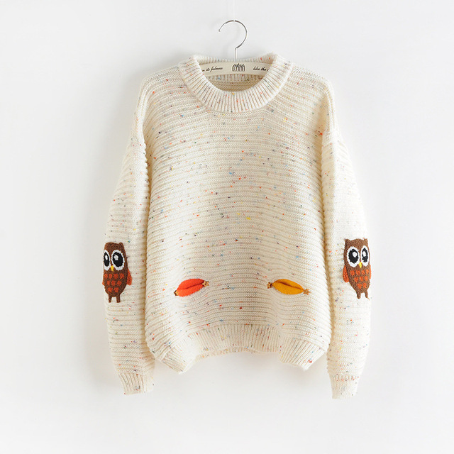 2017 Moda Otoño Invierno O-cuello Cuello Nueva Owl Carácter con Hit Bolsillo Color Sólido Flojo Suéter De Cachemira Suéteres