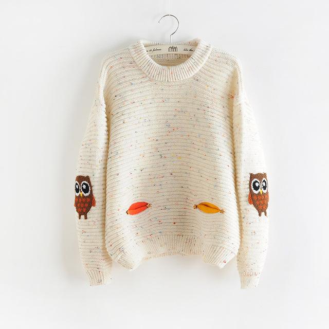 2017 mulheres moda outono inverno o pescoço collar new coruja personagem com hit bolso cor sólida solto suéter de cashmere pullovers