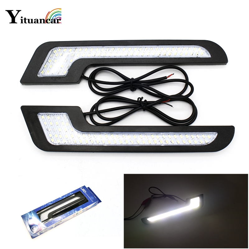 Yituancar 2Pcs/Set 2X72 Chips 3140SMD LED Car DRL Daytime Running Light Styling DC12V Auto Driving Front Vehicle Lamp With Stick auxmart triple row led chips 12 led