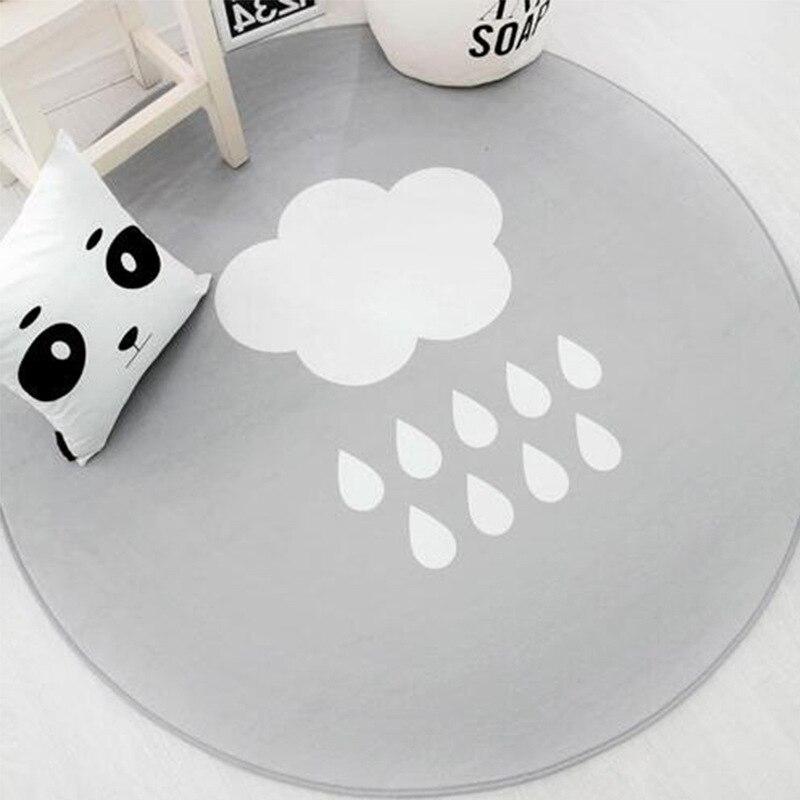 Nordic White Cloud Printed Soft Carpets Anti-Slip Rug Lovely Cartoon Computer Chair Mat Floor Mat Round Home Kids Room Rugs
