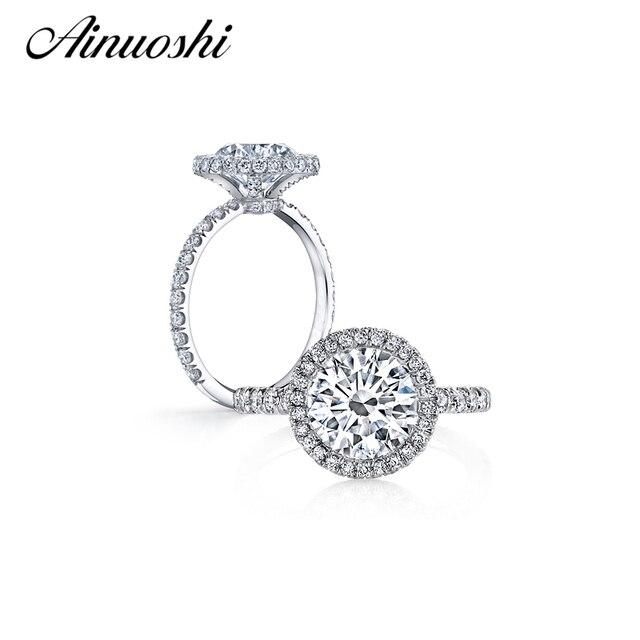 AINOUSHI Luxury 4 Carat Big Halo Ring 925 Solid Sterling Silver High Setting Round Cut Sona Engagement Wedding Ring