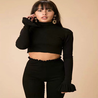 2018 New Two Piece Set Women Spring Autumn Sexy Slim Turtleneck Crop Tops And Long Pants