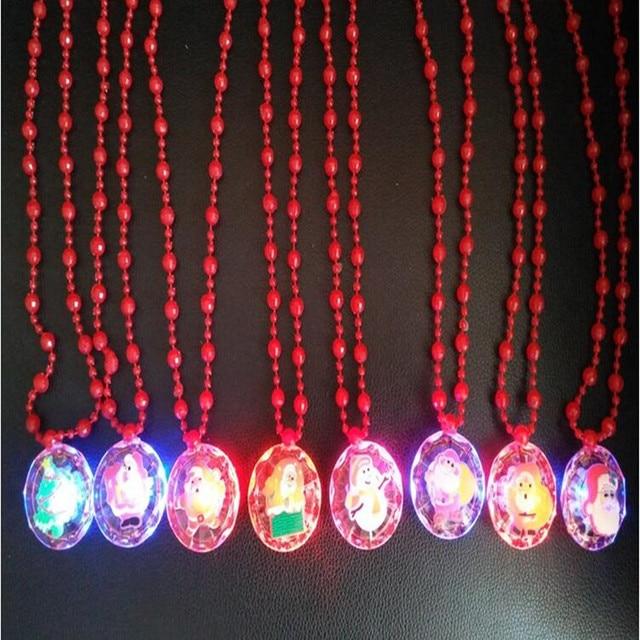 children led flashing bead bracelet wristband lighted necklace pendants gift toys glow party navidad christmas navidad - Lighted Christmas Necklace