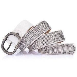 Image 4 - New arrival rivet belts high quality designer women belts brand waist belt for women casual pin buckle female belts Strap