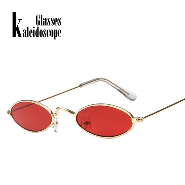 dd4c930d02 Kaleidoscope Glasses Small Oval Sunglasses Men Women Retro Metal Frame Red  Vintage Round Skinny Cat Eye