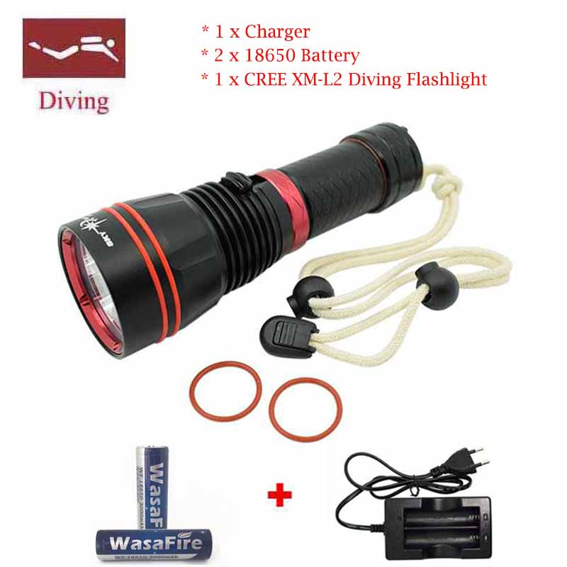 Powerful 5000 Lumen XM-L2 LED Underwater Waterproof LED 10w dive Diving Flashlight Torch 100M Underwater Diving Flash Light