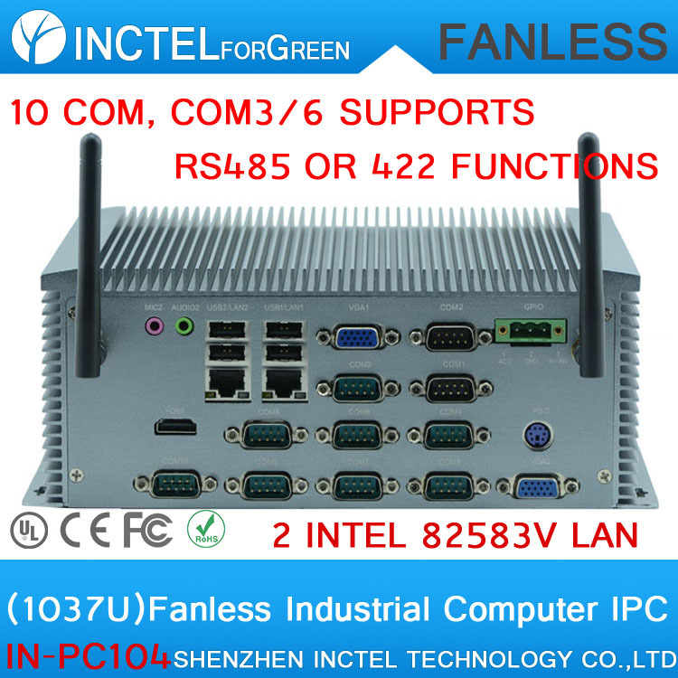 Manufacturers supply 1037U fanless industrial computer with 10 serial ports 2 lan 4G RAM Onboard COM3 to COM6 can set R422 R485  8g ram 256g ssd 1t hdd fanless intel celeron 1037u industrial embedded computer dual lan 4 com rs232 usb 3 0 hdmi vga win 10